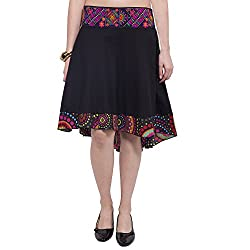 TUNTUK Women's Saniya Skirt Black Cotton Skirt