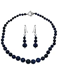 Pearlz Ocean Blue Dyed Lapis Lazuli Gemstone Beads Necklace Set