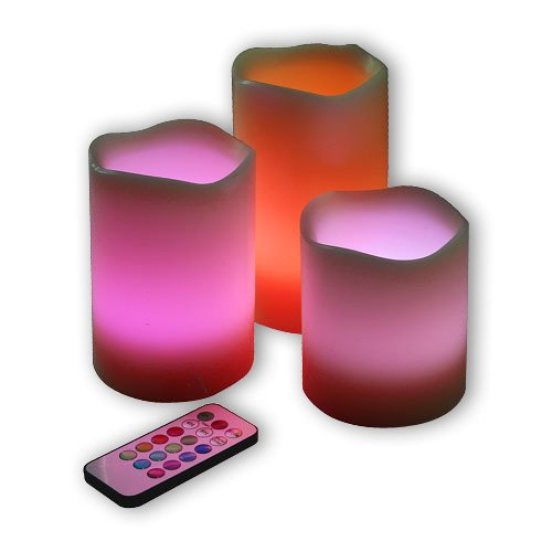 Primogiorno Battery Operated Roseo Flameless Color-Changing Led Candle Light Set, With Remote Control & Timer Feature, Set Of 3, Creating Romance Atmosphere W/Your Lovers