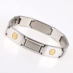 High Polished Stainless Steel Link Bracelet With Gold Plated Links For Men With Gift Box Jb1001 from FashionOn