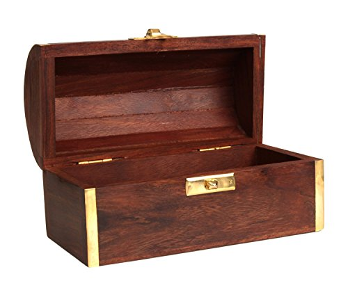 Christmas Thanksgiving Gifts Fine Rosewood Wooden Jewelry Trinket Chest Organizer Keepsake Storage Box with Paisley Brass Inlay