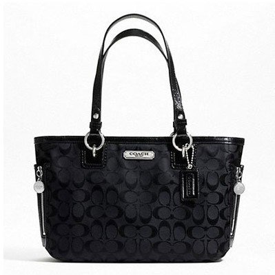Coach Gallery Signature Zipper Tote Black/Silver F23766 back-406471