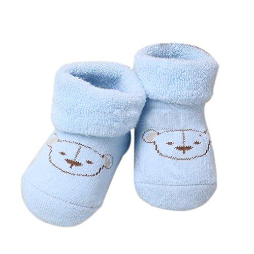 2 Paia Bambino Unisex Neonato Cartoon Orso Pattern Calze Invernali per 0-6 Mesi (Azzurro)