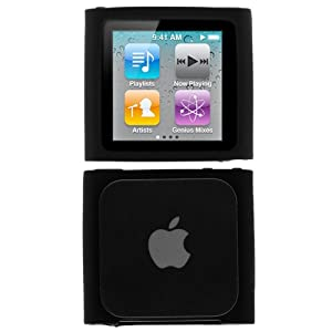 GTMax Durable Soft Rubber Silicone Skin Cover Case for Apple iPod Nano 6th Generation 8GB,16GB - Black