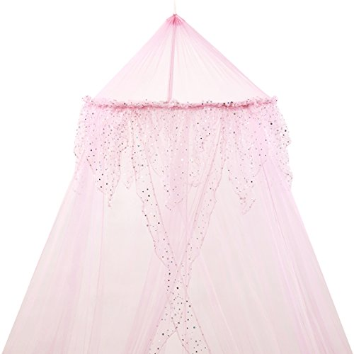 princess-bed-canopy-beautiful-silver-sequined-childrens-bed-canopy-in-pink-quick-and-easyto-hang-gir