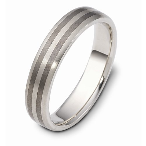 Titanium 14k White Gold, 5MM Contemporary Wedding Band (sz 4.5)