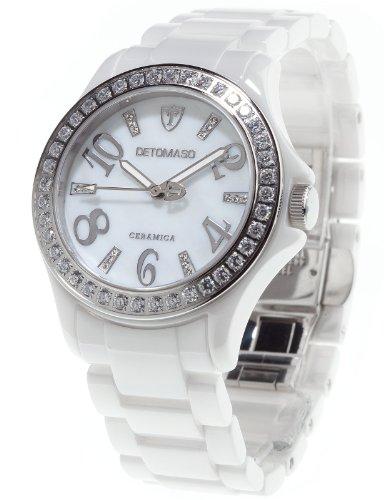 Detomaso DT3015-A - Reloj analógico de cuarzo para mujer con correa de cerámica, color blanco