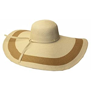 Sakkas 5311LF Women's Contrast Stripe UPF 50+ Extra Wide Floppy Brim Straw Hat - Natural - One Size