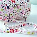 Purple Pink Flowers White Lace Edge D...