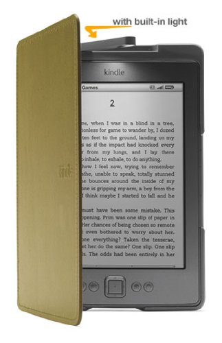 Amazon Kindle Lighted Leather Cover, Olive Green (does not fit Kindle Paperwhite, Touch, or Keyboard) (Kindle Keyboard Lighted Cover compare prices)