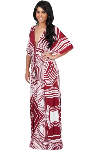 Koh Koh Women's Graphic Print Kimono Sleeve Cocktail Maxi Dress – XXXX-Large – Crimson & White