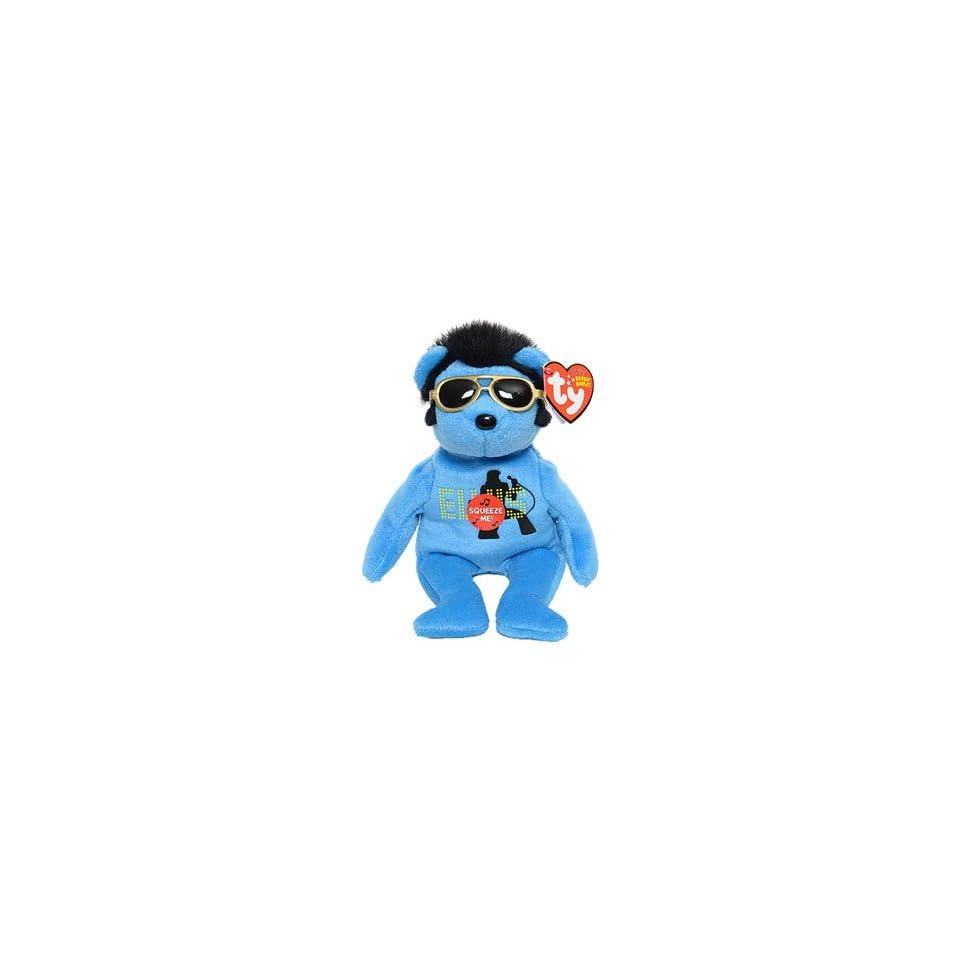 Ty Beanie Babies Blue Singing Teddy Bear Featuring Elvis