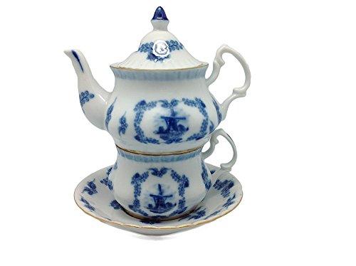 Victorian Tea Set Delft Tea For One