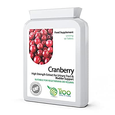Cranberry 5000mg 90 Tablets - High Strength Daily Supplement to Support a Healthy Urino-Genital Tract, Kidneys and Bladder, Healthy Heart & Cardiovascular Function, Healthy Circulation & Healthy Bacteria Balance from Troo Health Care