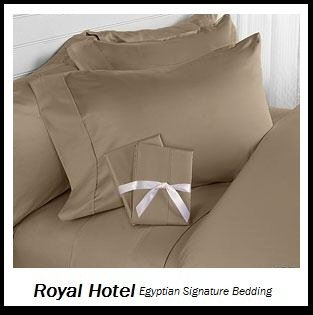 Royal Hotel's Solid Taupe 1400-Thread-Count 4pc King Bed Sheet Set 100-Percent Egyptian Cotton, Sateen Solid, Deep Pocke