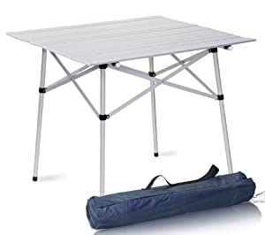 Aluminum Roll Up Table Folding Camping Outdoor Indoor Picnic Table Heavy Duty by Sky Enterprise USA