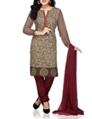 Fawn Cotton Jacquard Churidar Kameez