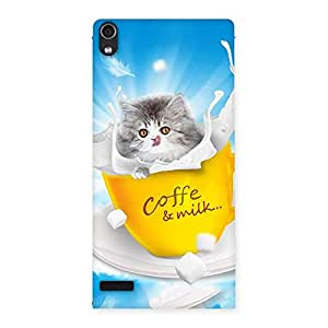 Kitty Coffee Multicolor Back Case Cover for Ascend P6