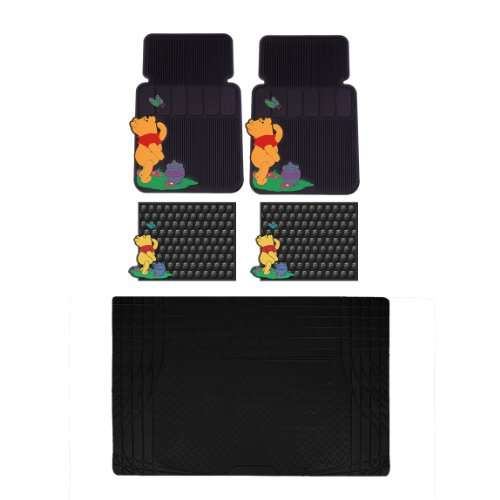 5pc Winnie The Pooh Honey Butterfly Front Rear SCargo Rubber Mats Set Universal (Pooh Car Mats compare prices)