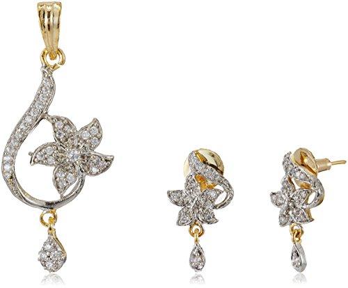 Ava Gold and American Diamond Pendant Set (Gold) (S-B-011)