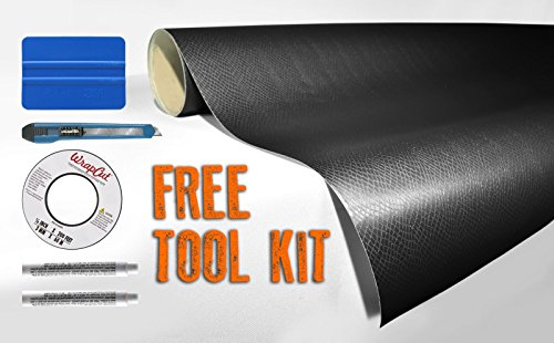 Black Snake Skin Leather 5Ft X 45Ft Vvivid8 Vinyl Wrap Roll With Air Release Technology With Free Tool Set Kit Included