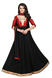 BanoRani Womes Red & Black Color Dupion Silk & Faux Georgette UnStitched Gown with Dupatta