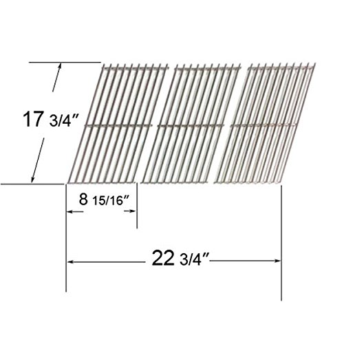 64103 - Stainless Steel Cooking Grates For Gas Grill Models Brinkmann, Charmglow And Grillada