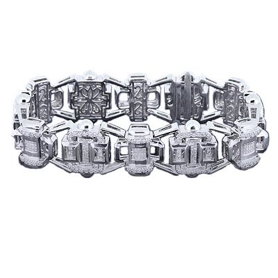 MEN 6.74 CT DIAMOND BRACELET, 14 K WHITE GOLD