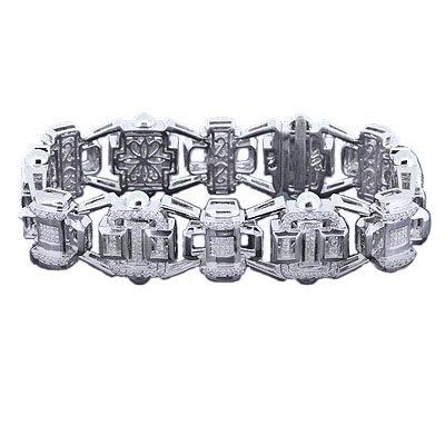 MEN 6.74 CT DIAMOND BRACELET, 14 K WHITE GOLD