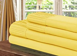 Chic home Pleated Microfiber Sheet Yellow Queen