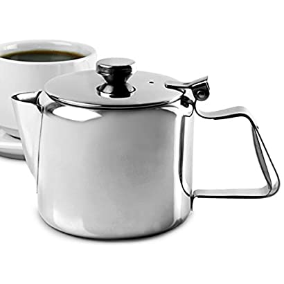 350 ml-Argent Pichet En Acier Inoxydable Tasse De Lait Pichet Cruche Avec Couvercle Pour Art Du Caf/é Latte Pour Cuisine De Bureau Avec Poign/ée