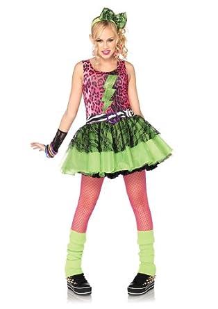Leg Avenue Costumes 3Pc.Totally 80S Amy Animal Print Dress Lace Arm Piece Headpiece Juniors, Pink/Black, Small/Medium