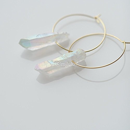 Clear Raw Crystal Quartz Stone Bar Hoop Earrings (Clear Quartz Crystal Earrings compare prices)