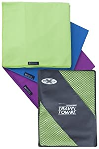 Mountain Warehouse Microfibre Travel Towels - Lightweight, Antibacterial and Quick Drying - Great For Camping, Beach, Yoga, Pilates, Golf, Gym, Hiking, Walking, Swimming) Green