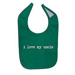 Mashed Clothing Unisex-Baby I Love My Uncle Cotton Baby Bib (Kelly Green)