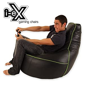 i-eX Gaming Chair -Faux Leather - Man Size Gaming Bean Bag - Great for a Gamer (Lime/Black) by i-eX