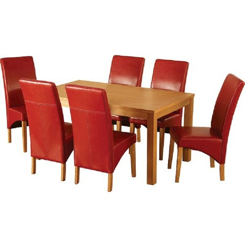 Belgravia Dining Set, Natural Oak Veneer/Rustic Red