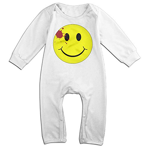 [Kamici Baby Watchmen Bloody Smiley Face Long Sleeve Romper Jumpsuits White 18 Months] (Matt Barkley Costume)