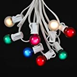 Novelty Lights - Inc. G30 Globe Outdoor Christmas Light Party Wedding String Light Set - Multi - White Wire - 25' - 25 Bulbs