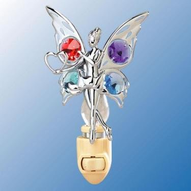 Chrome Fairy with Heart Night Light - Multicolored Swarovski Crystal