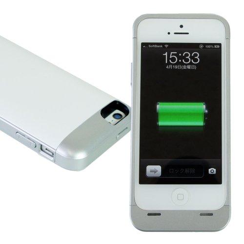 Hy+ iPhone5用 バッテリーケース 充電器 2000mAh HY-IPJ1 延長イヤホンケーブル付き iTunes同期可能 ホワイト