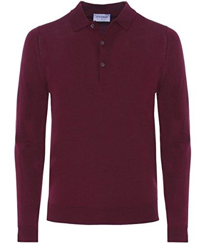 John Smedley A maniche lunghe di Tyburn camicia di Polo M Rosso
