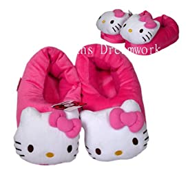 Sanrio Hello Kitty Slippers - Pink Plush Hello Kitty House Slippers