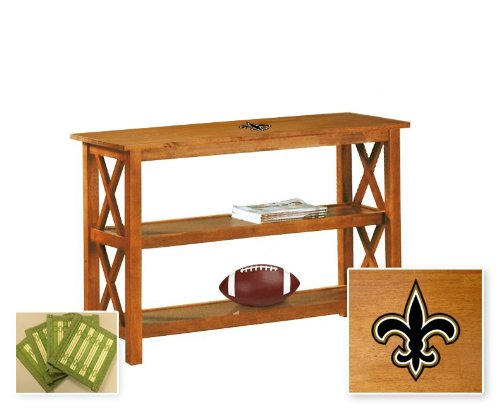 New Oak Finish Sofa Table with Shelves featuring New Orleans Saints NFL Team Logo and also includes a set of free coasters! at Amazon.com