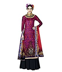 Meera Women's Velvet Unstitched Dress Material (Jinn8_Magenta Black)