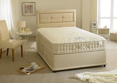 Happy Beds Natural Milk Divan Bed Set Memory Foam 2000 Pocket Sprung Mattress 2 Drawers One Per Side No Headboard