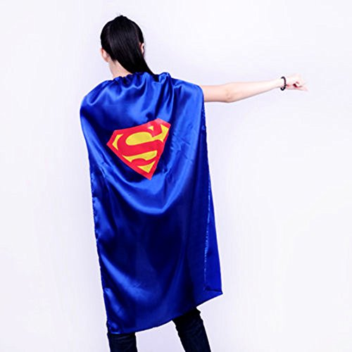 Starkma Adult Superman Superhero Stain Cape Costume Blue 03