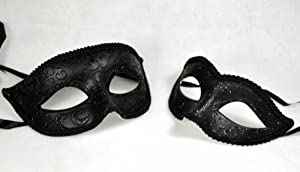 Black Couple Mask Mardi Gras Venetian Halloween Ball Prom Masquerade Mask