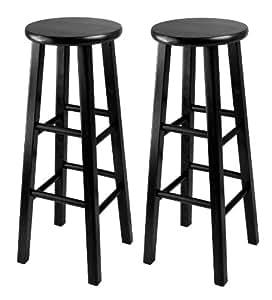 Winsome 29-Inch Square Leg Bar Stool, Black, Set of 2