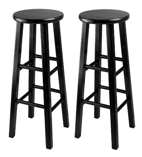 Winsome 29-Inch Square Leg Bar Stool, Black, Set of 2 (Black Wood Bar Stools compare prices)